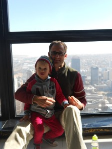 Dad and Oliver at the top of Carlton Centre