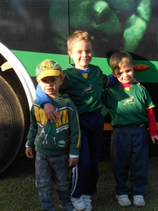 The little guys in front of the Springbok bus