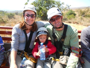 Mom, Dad and Oliver on way back from ziplining adventure