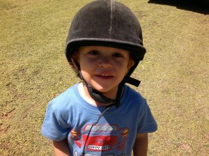 Oliver ready to ride Frank in Dullstroom