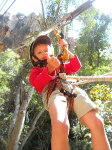 Oliver giving ziplining a thumbs up - all sharp sharp