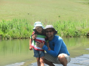 Wading in the beautiful clear waters of the Little Mooi River